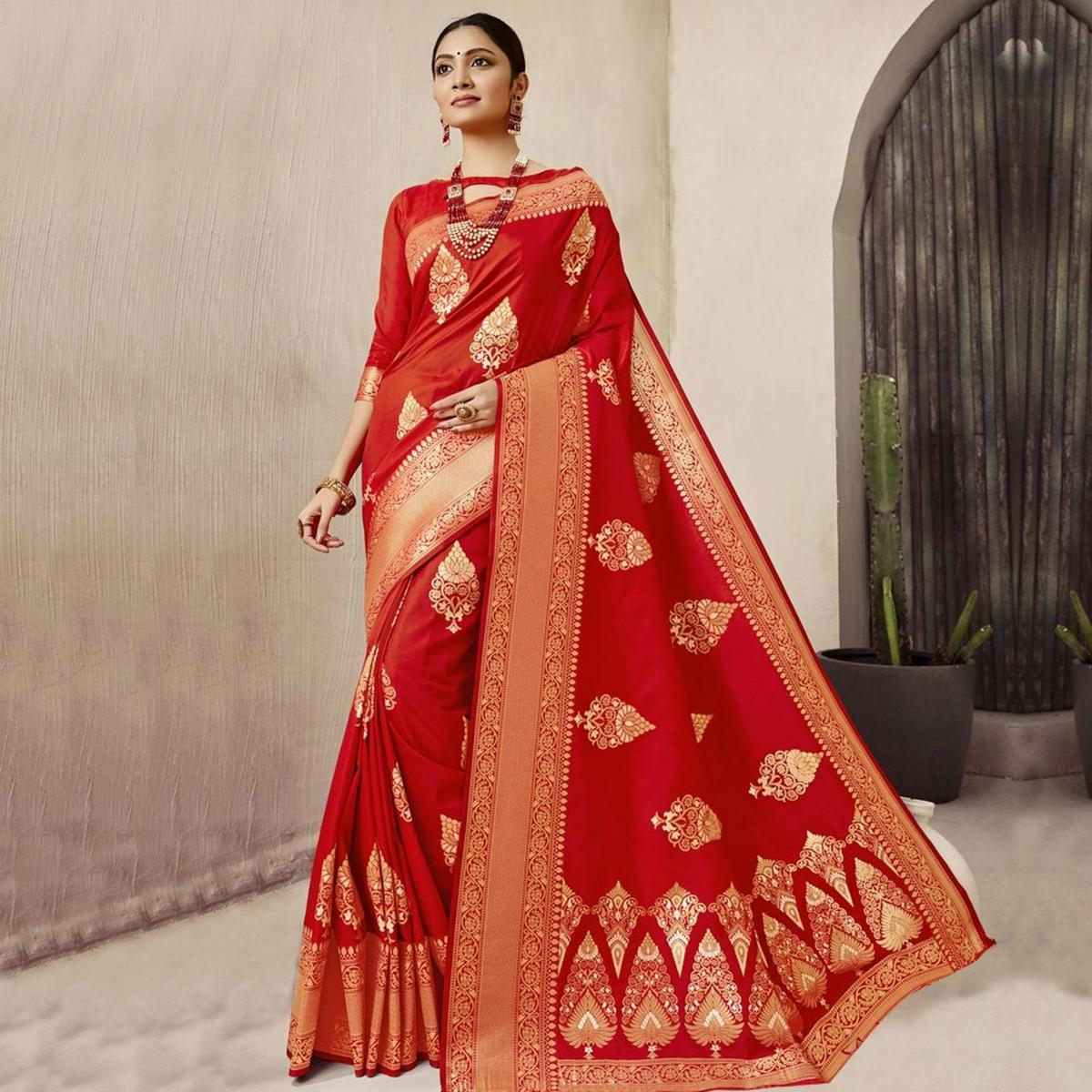 Excellent Red Colored Festive Wear woven jacquard Silk Saree With Tassels