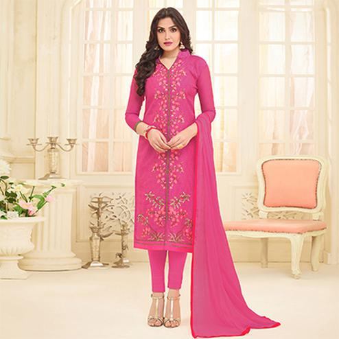 Deep Pink Embroidered Front Slit Cut Chanderi Suit