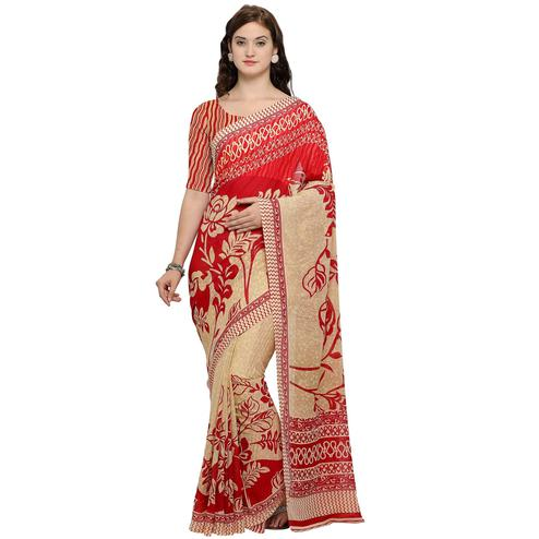 Sensational Beige-Red Colored Casual Wear Printed Georgette Saree