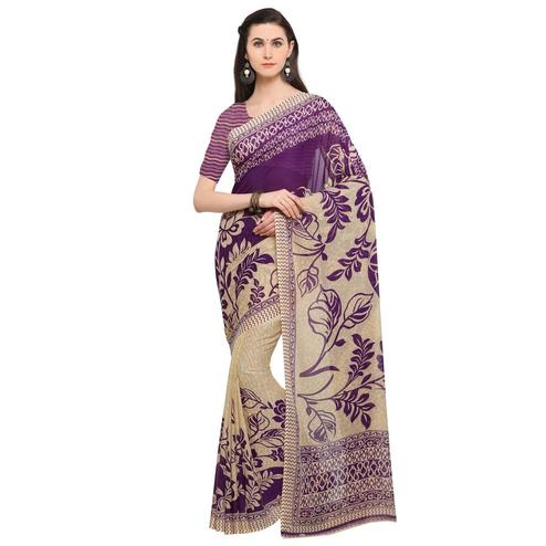Flaunt Beige-Purple Colored Casual Wear Printed Georgette Saree