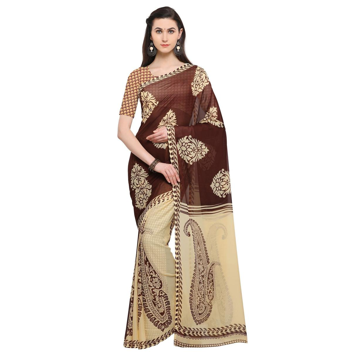 Stunning Beige-Brown Colored Casual Wear Printed Georgette Saree