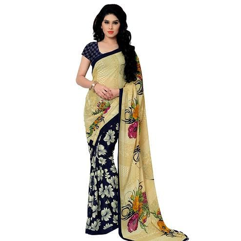 Flirty Blue-Beige Colored Casual Wear Printed Georgette Saree