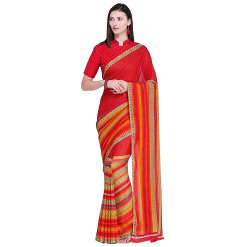 Classy Red Colored Casual Wear Printed Georgette Saree