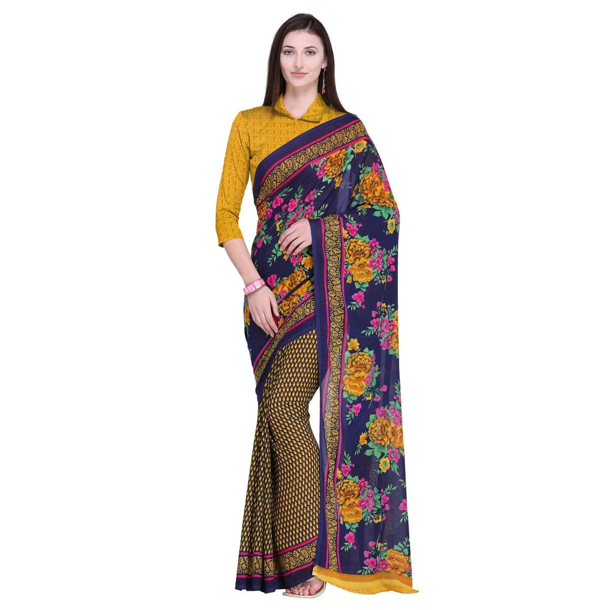 Prominent Blue-Yellow Colored Casual Wear Printed Georgette Saree