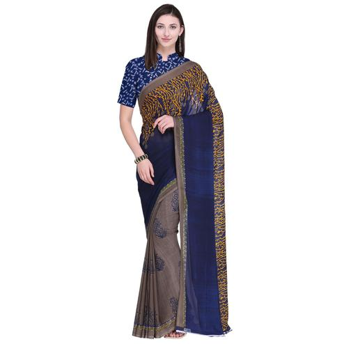 Appealing Beige-Blue Colored Casual Wear Printed Georgette Saree