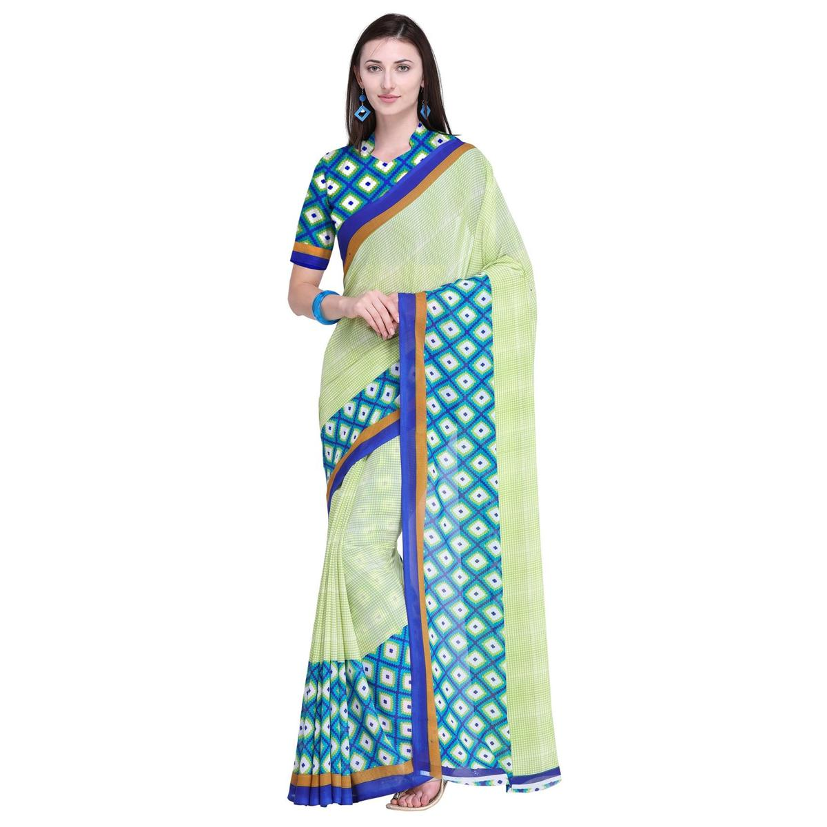 Capricious Green Colored Casual Wear Printed Georgette Saree