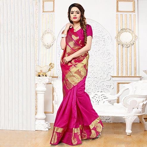 Pink Weaving Work Silk Saree