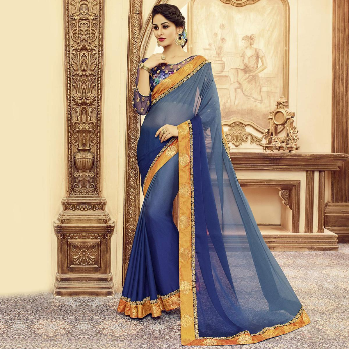 Shaded Blue Designer Blouse Pure Silk Saree
