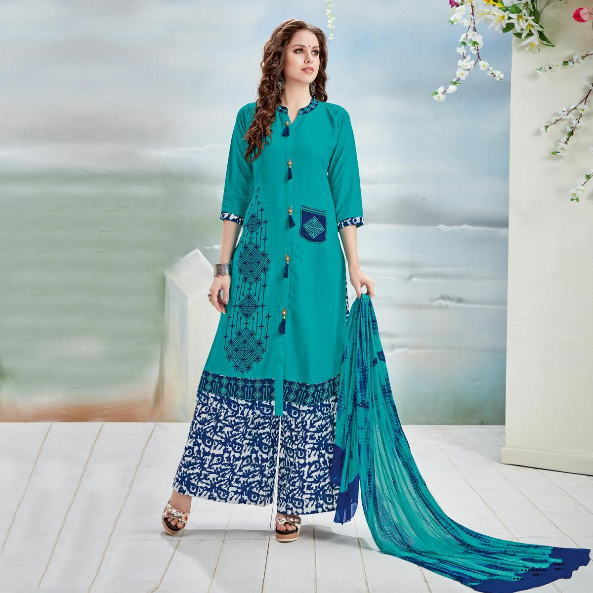 Beautiful Teal Blue Designer Embroidered Rayon Palazzo Suit