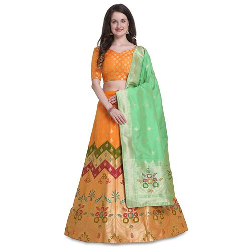 Stylee Lifestyle - Orange Colored Party Wear Woven Jacquard Lehenga Choli