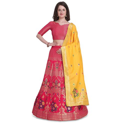 Stylee Lifestyle - Magenta Pink Colored Party Wear Woven Jacquard Lehenga Choli