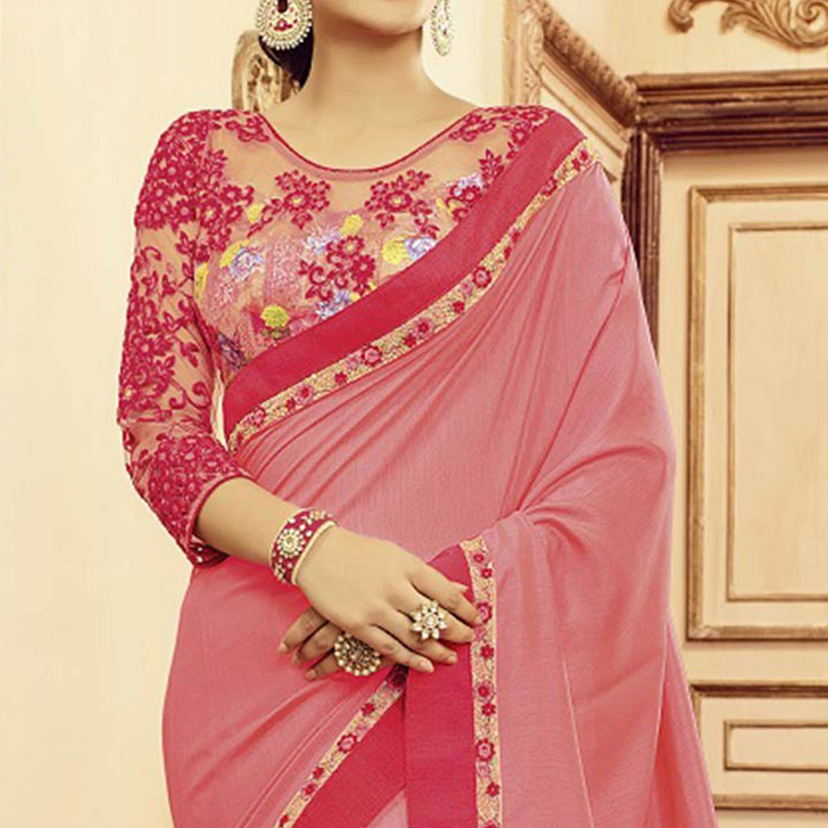 Gorgeous Pink Designer Blouse Pure Silk Saree