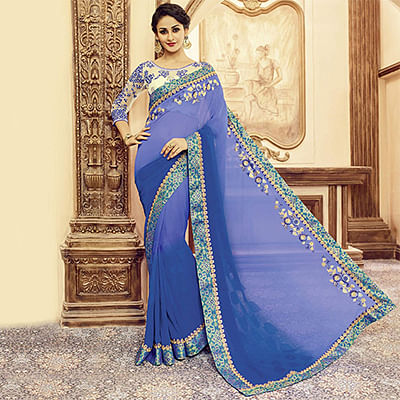 Shaded Purple Designer Blouse Pure Silk Saree