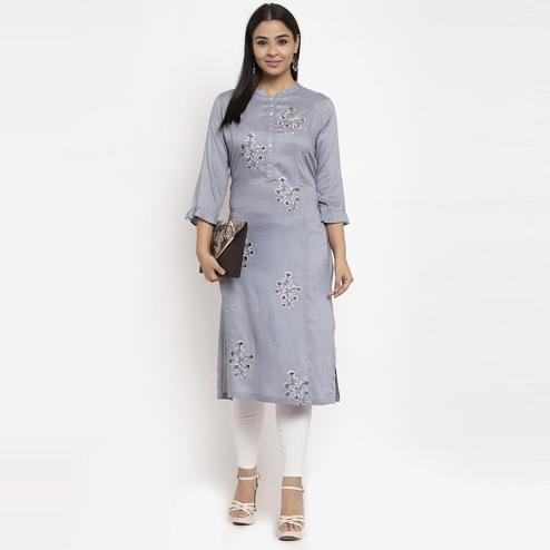 Aujjessa - Grey Colored Casual Wear Embroidered Calf Length Straight Viscose-Rayon Kurti