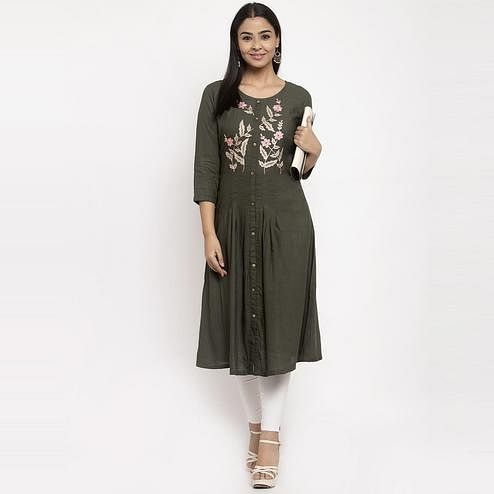 Aujjessa - Black Colored Casual Wear Embroidered Calf Length A-Line Viscose-Rayon Kurti