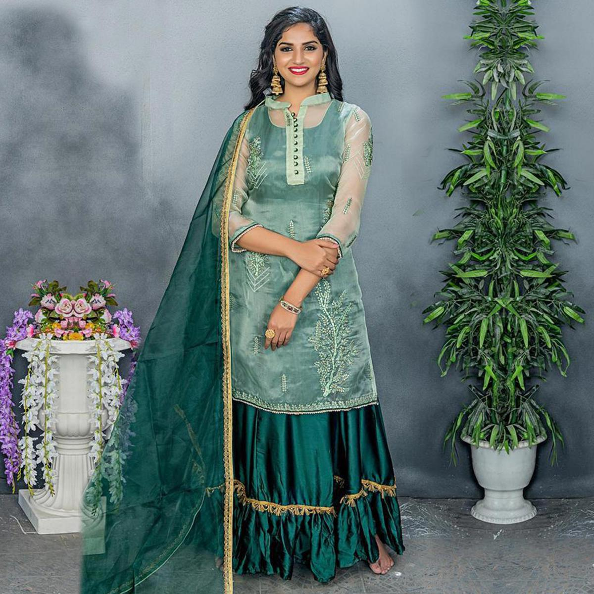 Attractive Green Colored Party Wear Embroidered Organza Sharara Suit
