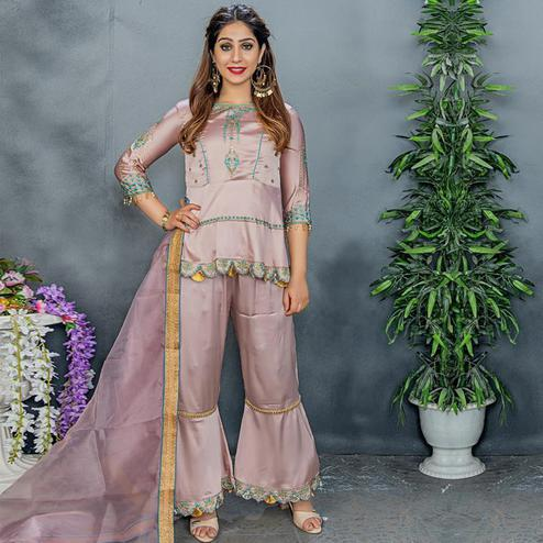 Graceful Pastel Mauve Colored Party Wear Embroidered Satin Palazzo Suit