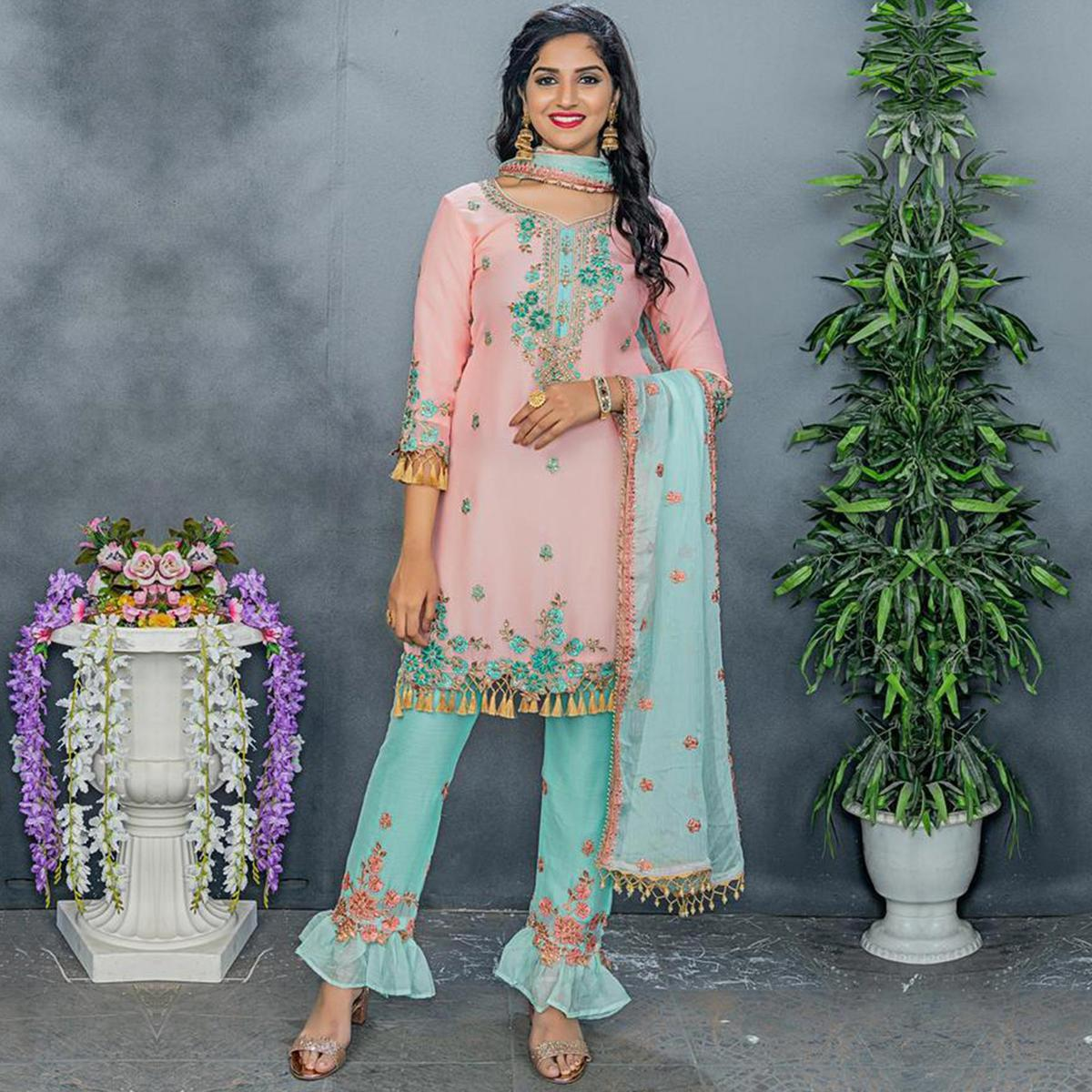 Charming Pink Colored Party Wear Embroidered Silk Pant Style Suit
