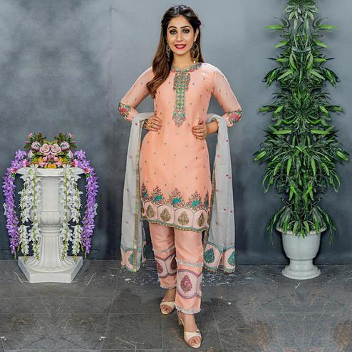 Engrossing Peach Colored Party Wear Embroidered Silk Pant Style Suit