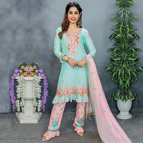 Captivating Turquoise Colored Party Wear Embroidered Silk Pant Style Suit