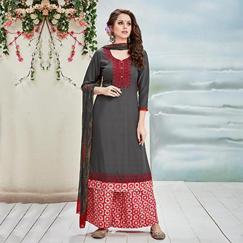 Graceful Gray Designer Embroidered Rayon Palazzo Suit