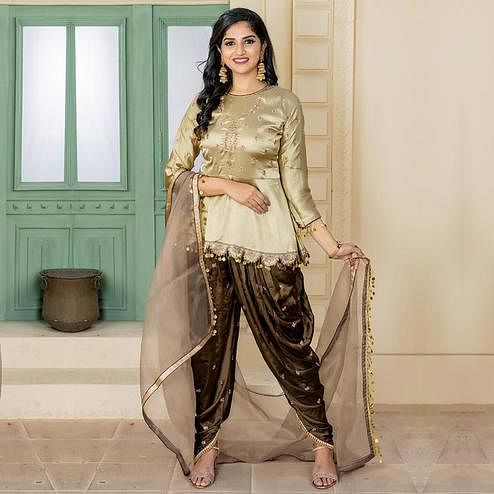 Opulent Gold Colored Party Wear Embroidered Satin Dhoti Style Suit