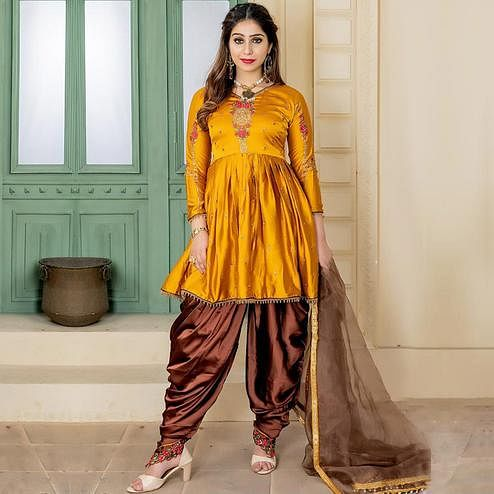 Desirable Mustard Yellow Colored Party Wear Embroidered Satin Dhoti Style Suit