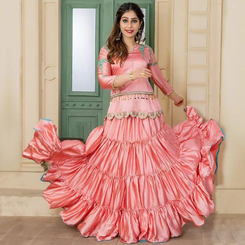 Intricate Pink Colored Party Wear Embroidered Satin Lehenga Kameez