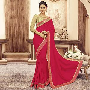 Deep Pink Designer Blouse Pure Silk Saree