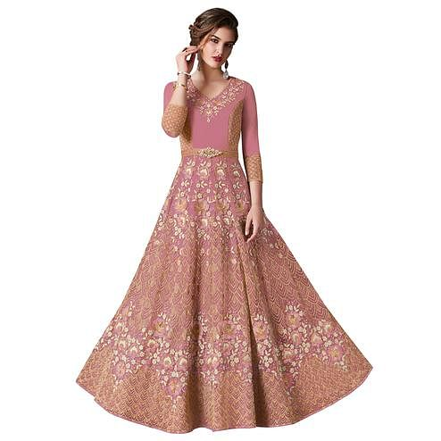 Arresting Pink Colored Designer Wedding Wear Net Anarkali Suit