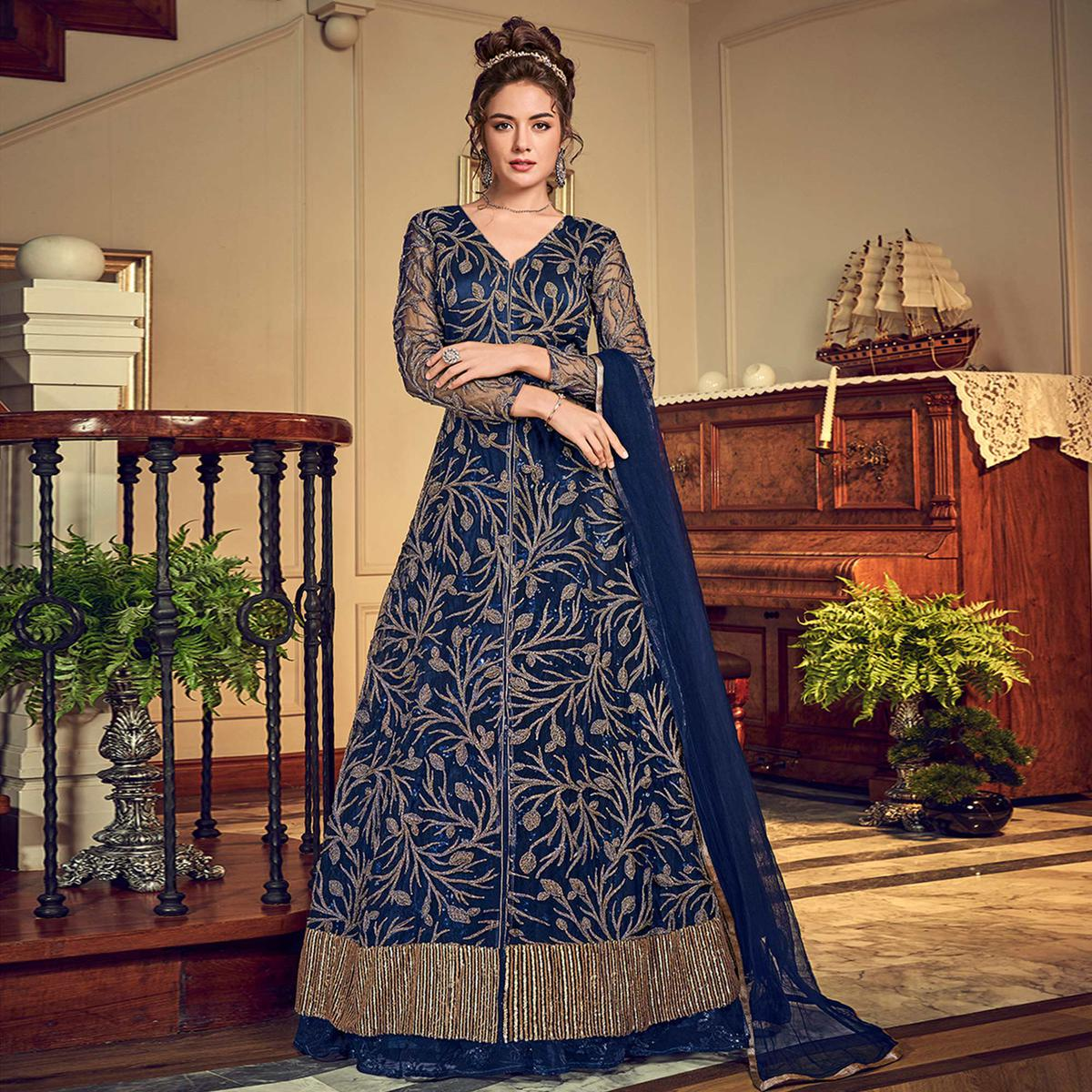 Exotic Blue Colored Designer Wedding Wear Net Anarkali Suit