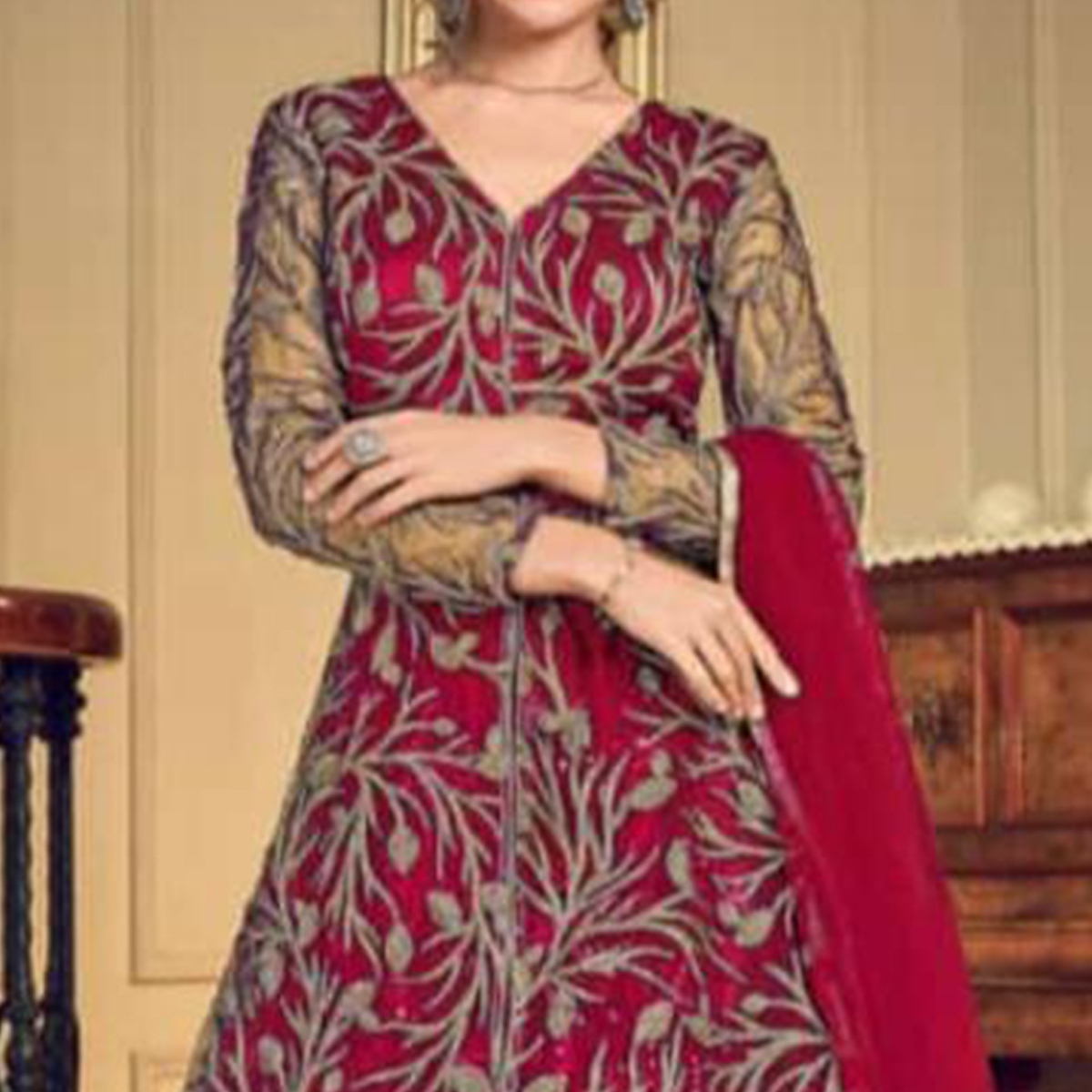 Sophisticated Rani Colored Designer Wedding Wear Net Anarkali Suit