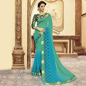 Green - Blue Designer Blouse Pure Silk Saree