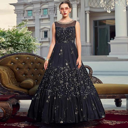 Gleaming Navy Blue Colored Partywear Embroidered Heavy Georgette Gown