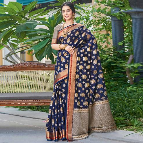 Refreshing Navy Blue Colored Festive Wear Woven Handloom Silk Saree