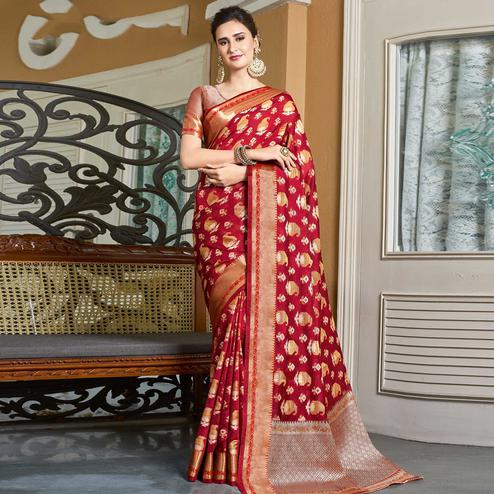 Magnetic Red Colored Festive Wear Woven Handloom Silk Saree