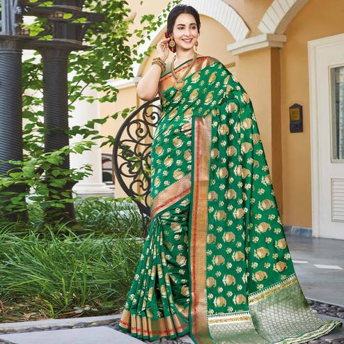 Hypnotic Green Colored Festive Wear Woven Handloom Silk Saree