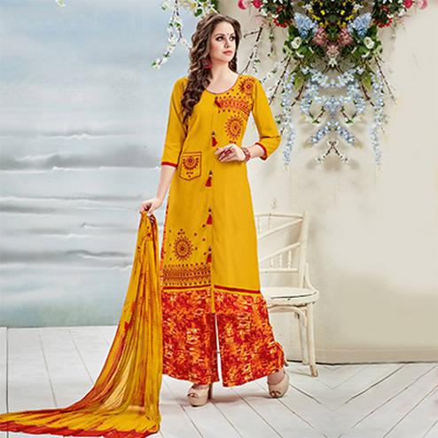 Ravishing Yellow Designer Embroidered Rayon Palazzo Suit
