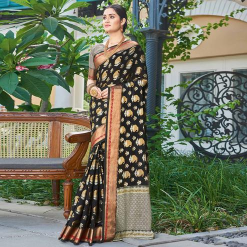 Excellent Black Colored Festive Wear Woven Handloom Silk Saree