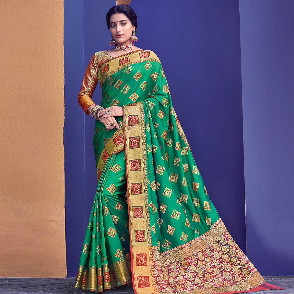 Preferable Green Colored Festive Wear Woven Heavy Banarasi Silk Saree