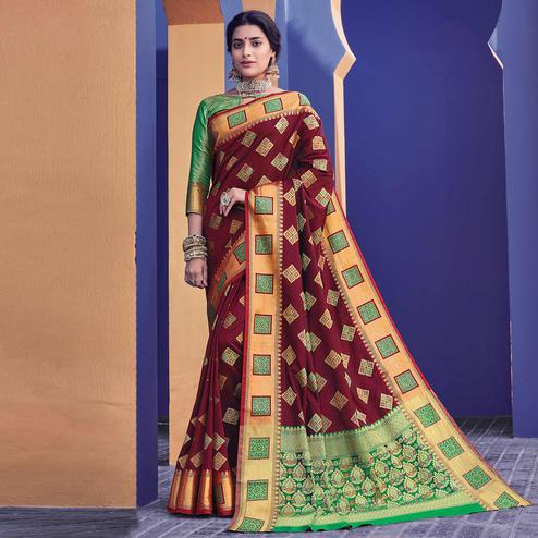 Flamboyant Maroon Colored Festive Wear Woven Heavy Banarasi Silk Saree