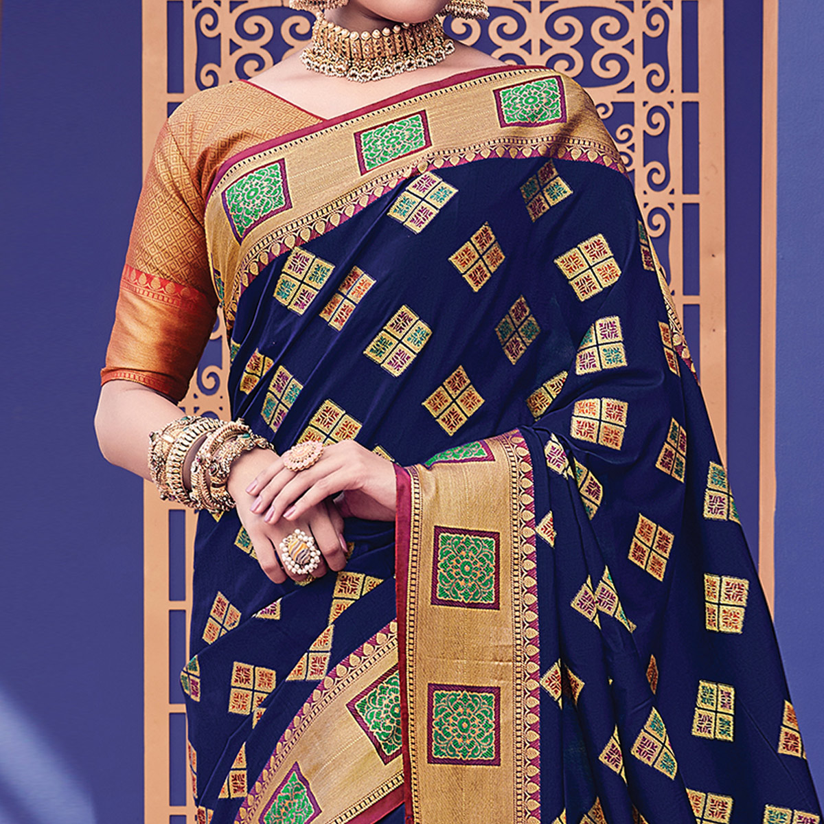 Pretty Navy Blue Colored Festive Wear Woven Heavy Banarasi Silk Saree