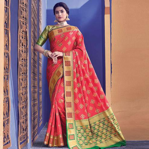 Alluring Pink Colored Festive Wear Woven Heavy Banarasi Silk Saree