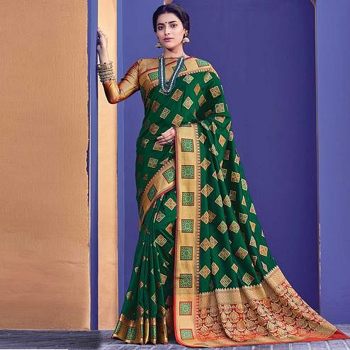 Sensational Green Colored Festive Wear Woven Heavy Banarasi Silk Saree
