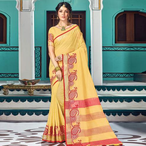 Adorable Yellow Colored Partywear Printed Linen Cotton Saree