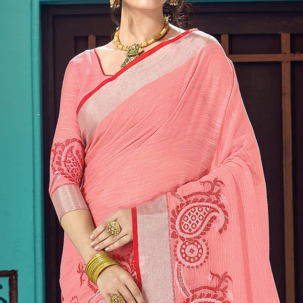 Glorious Peach Colored Partywear Printed Linen Cotton Saree