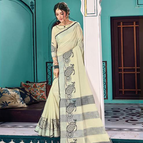Attractive Chikoo Colored Partywear Printed Linen Cotton Saree