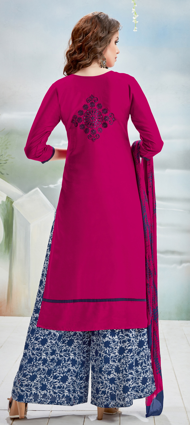 Lovely Pink Designer Embroidered Rayon Palazzo Suit