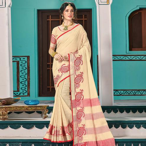 Beautiful Beige Colored Partywear Printed Linen Cotton Saree