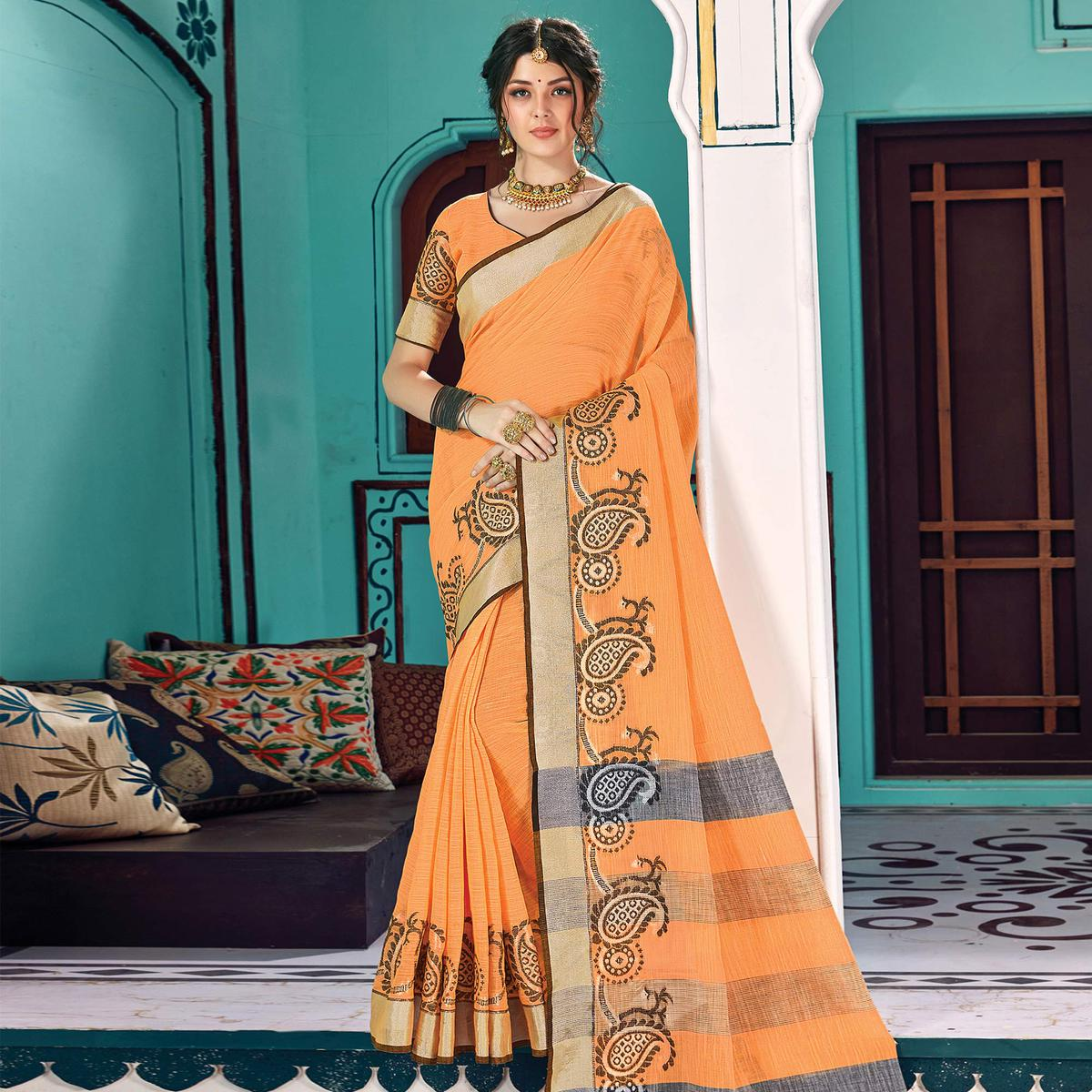 Graceful Orange Colored Partywear Printed Linen Cotton Saree